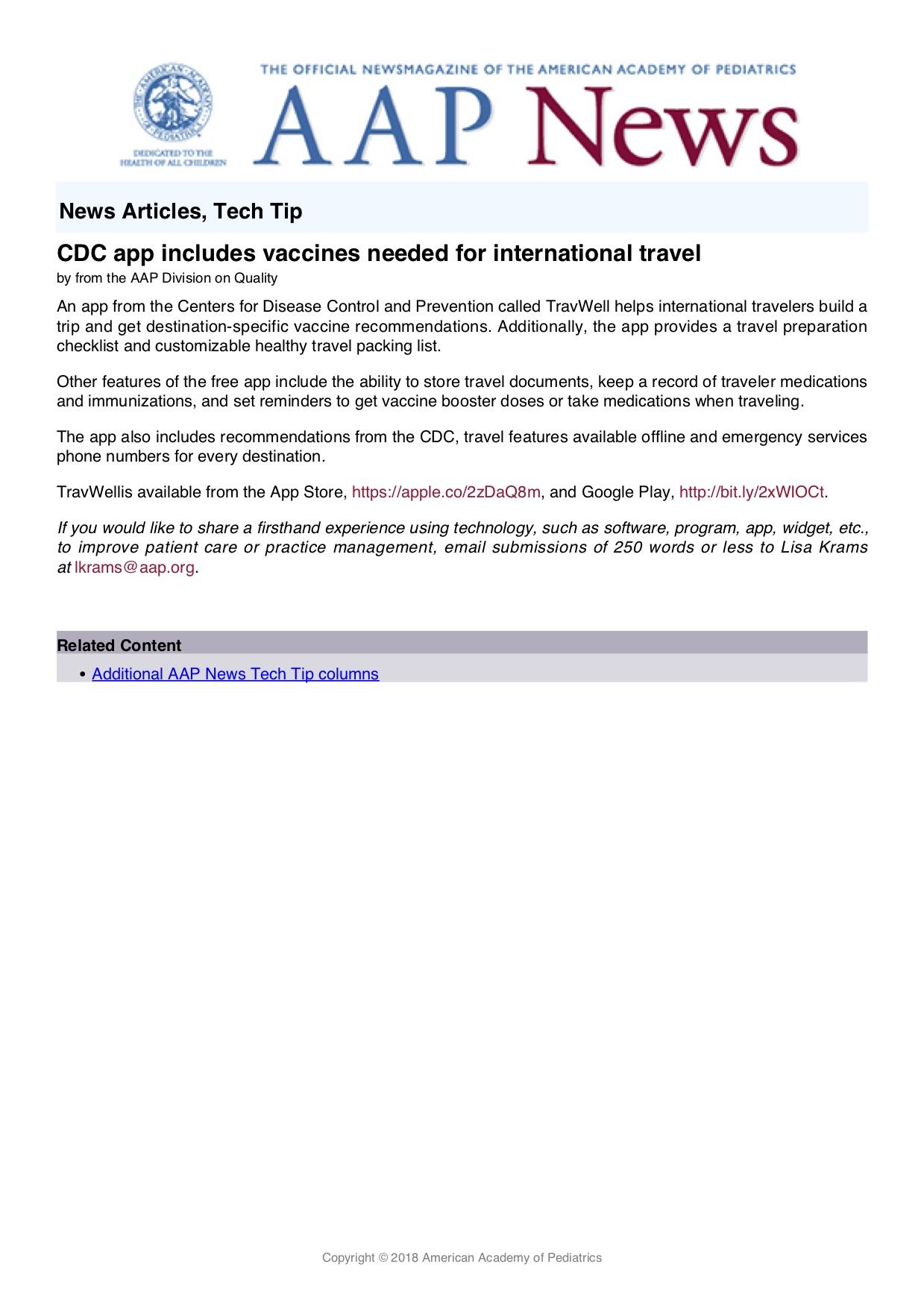 CDC Travel - Columbia Pediatrics Medical Group, Inc